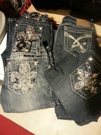 two pairs of blue Miss Me denim jeans Cabot