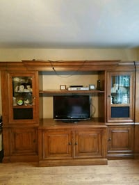 Solid Pecan Wood Entertainment Center