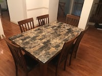Rectangular brown wooden table with six chairs dining set Fairfax, 22033