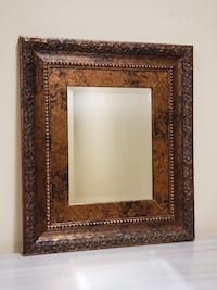 POLISHED BROWN ORNATE FRAME w/Small Beveled Mirror - firm price. Arlington, 22204