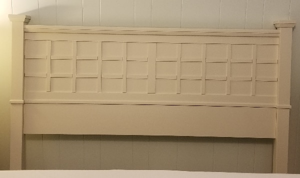 Queen Bed Size off white wooden headboard