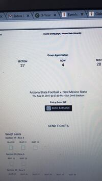 Arizona State Football vs New Mexico State electronic ticket Tempe, 85281