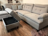 white fabric sectional sofa with ottoman 2292 mi