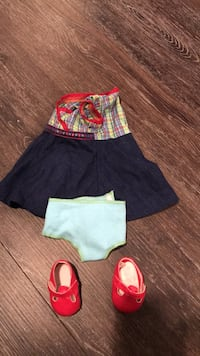 American girl Bitty baby denim dress with shoes and underwear