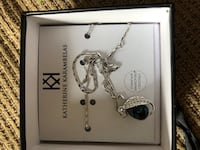 blue stud necklace with thick silver chain and swarovski crystals Brampton, L6S 2N6