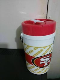 red and white San Francisco 49ers tumbler
