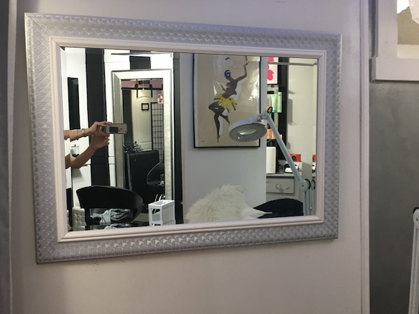 Mirror silver and white accents
