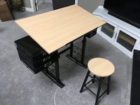 Adjustable Drawing Table with Stool and Drawers Holliston, 01746