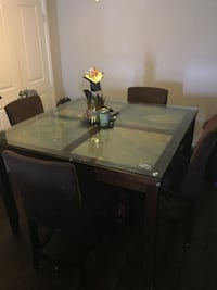 High square marble wooden table with glass top n 4 chairs 56 km