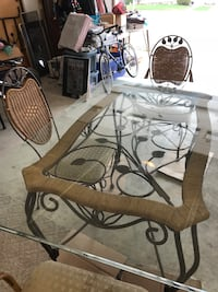Glass and metal dining set.