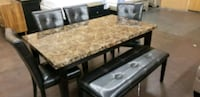 Brown faux marble top table, 4 chairs & bench Sacramento