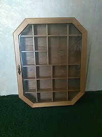 brown wooden framed glass display cabinet Collinsville, 62234