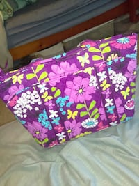pink, yellow, and teal floral quilted tote bag
