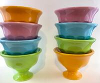 SET OF 4 ICE CREAM/DESSERT BOWLS.  Vibrant fun colors.  8 in all.  Mix and match them for a colorful table setting Bloomingdale, 31302