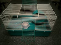 blue and white metal pet cage