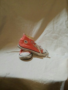 orange-and-white Converse All-Star high top sneakers