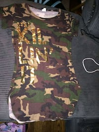 brown, black, and green camouflage crew-neck shirt Windsor, N9A 4E2