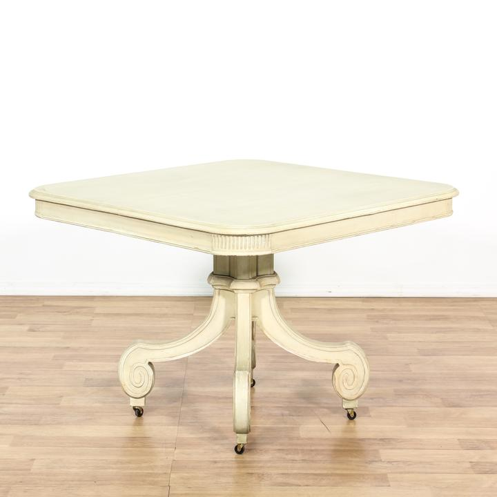Cream Cottage Chic Rolling Pedestal Dining Table