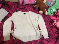 Jessica Simpson, xs gray/shoulders out/laced on sides sweatshirt