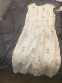 1960s ILGWU VINTAGE white and pink floral sleeveless dress