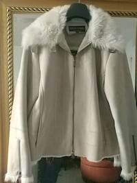 white and gray fur-lined zip-up jacket Toronto, M6N 1Y3