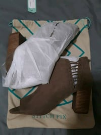 stitch fix arelle opened side bootie taupe 9.5 feet