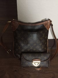 Brown leather louis vuitton tote bag