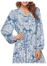 women's blue and white floral dress Vista, 92084