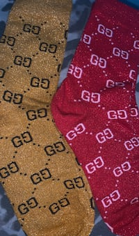 GUCCI Sparkly Gold/Black and Red/White Socks