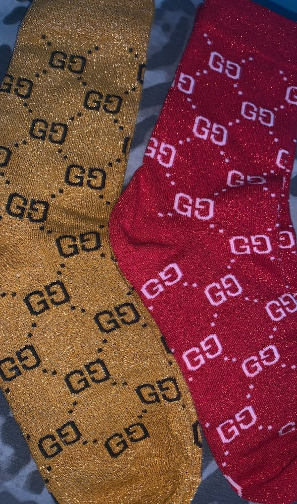 GUCCI Sparkly Gold/Black and Red/White Socks 7281f639-5378-4d2d-b888-b1bf238bf71d