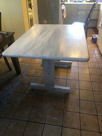 rectangular white wooden table with black metal base Rocky Point, 11778