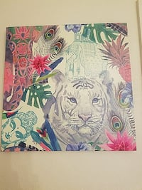 white and multicolored plant and animal painting