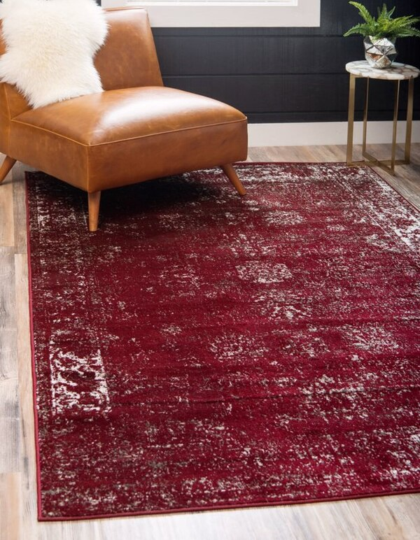 New Burgundy Area Rug 5' by 8'