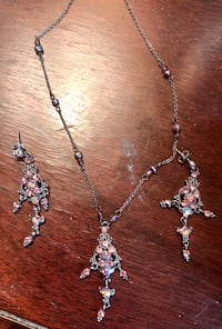 Beautiful light pink earrings and necklace set! Bought off Facebook Marketplace but never used them!  Reston, 20190