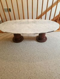 round white and brown wooden pedestal table Rocky Ridge, 21778