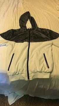 Black and white zip-up jacket size: small