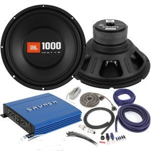 Bass package deal with installation. 2 JBL with box and 1100 watt amp