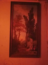 brown wooden framed painting of trees Wetumpka