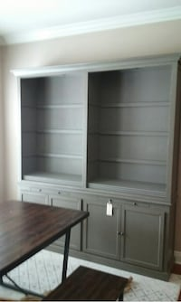 Grey green wooden bookcase with hutch. 2 years old in perfect condition. Won't fit in my new house.  Dearborn, 48128