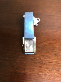 square silver analog watch with blue leather strap Brampton, L6W 1S5
