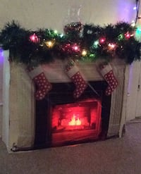 Handmade fireplace, doesn't make actual heat. (Christmas decoration)