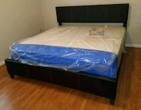Brand New King Size Leather Platform Bed +Mattress Silver Spring, 20910