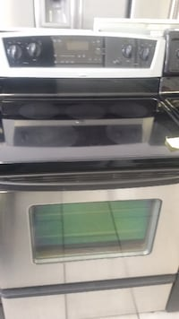 gray and black smooth-top range oven