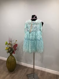 Blue baby girl all over lace dress with beaded sash size 4