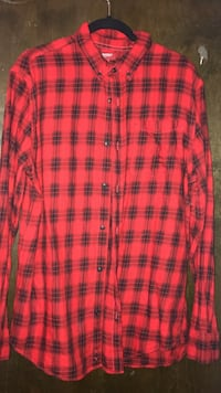 Red and black plaid button up for men Provo
