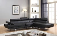 Brand New Black Faux Leather Sectional Sofa Couch w/Adjustable Headrests Silver Spring, 20902