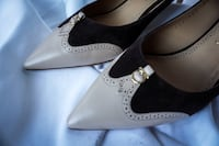 pair of gray leather peep toe heels Gaithersburg, 20878