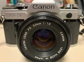 Vintage Canon AE-1 35mm film camera with 50mm lens