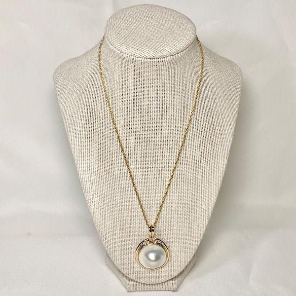 Genuine 14k Gold Blister Pearl Diamond Pendant with 14k Rope Chain 4