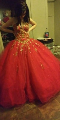 Red ballgown type dress